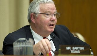 """FILE - In this April 1, 2014, file photo, Rep. Joe Barton, R-Texas, questions David Friedman, the acting head of the National Highway Traffic Safety Administration, during his testimony on Capitol Hill in Washington before the House Energy and Commerce subcommittee on Oversight and Investigation. Barton told a constituent to """"shut up"""" during a town hall meeting in his home district Saturday, March 11, 2017. (AP Photo/Evan Vucci, File)"""