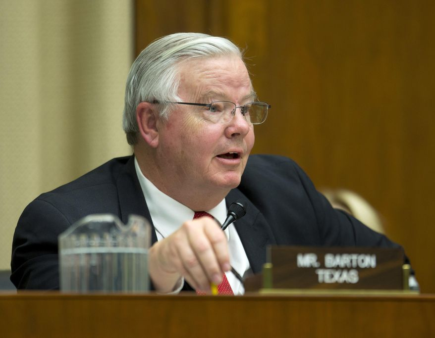 In this April 1, 2014, file photo, Rep. Joe Barton, R-Texas, questions David Friedman, the acting head of the National Highway Traffic Safety Administration, during his testimony on Capitol Hill in Washington before the House Energy and Commerce subcommittee on Oversight and Investigation. (AP Photo/Evan Vucci, File)