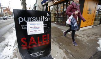 In this Friday, Feb. 10, 2017, photo, a shopper passes a sale sign in the Shadyside shopping district of Pittsburgh. On Wednesday, March 15, 2017, the Labor Department reports on U.S. consumer prices for February. (AP Photo/Gene J. Puskar)