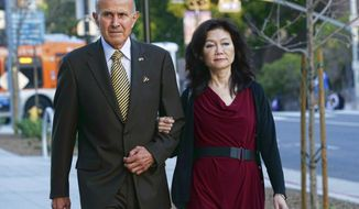 Former Los Angeles County Sheriff Lee Baca arrives with his wife at federal court in Los Angeles on Wednesday, March 15, 2017. Baca was convicted Wednesday of obstructing an FBI corruption investigation of jails he ran and of lying to federal authorities. He could face 20 years in prison.  (AP Photo/Nick Ut)