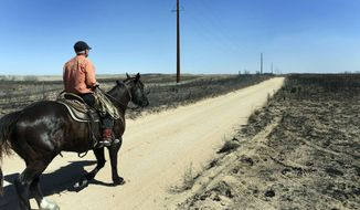 ADVANCE FOR WEEKEND EDITIONS MARCH 19, 2017 AND THEREAFTER - FILE - In this March 7, 2017, file photo, David Crockett rides the scorched prairie of Franklin Ranch searching for injured cattle after wildfires raced across Gray County, Texas driven by 50 mph winds. When wildfires scorched more than 1 million acres in early March cross parts of the Texas Panhandle, Oklahoma and Kansas, weather forecasters used a new weather satellite to see the infernos developing, almost in real-time. (Michael Schumacher/The Amarillo Globe News via AP, File)
