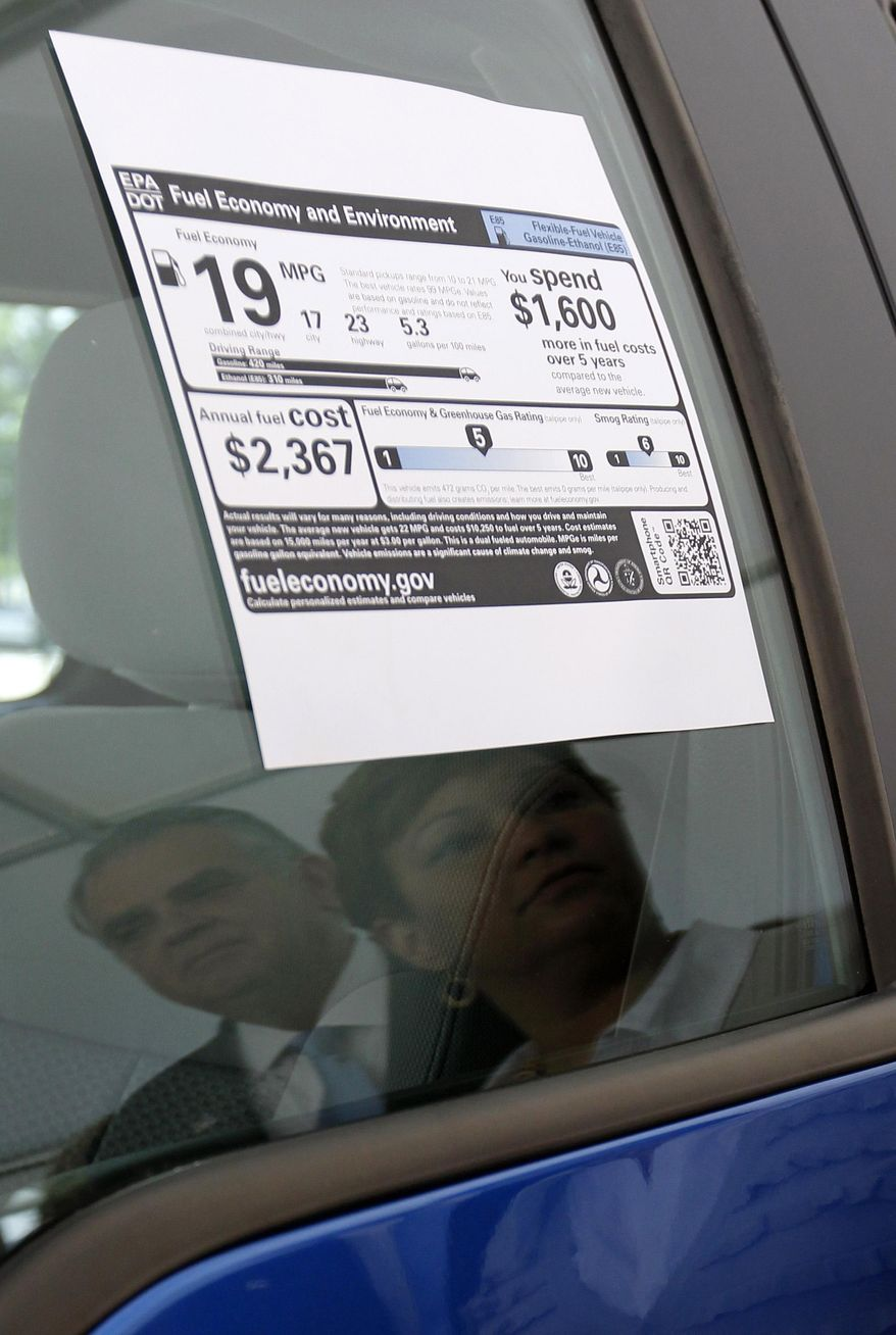 A change in federal requirements that regulate the fuel efficiency of new cars and trucks could mean consumers pay less per car but more for gasoline. (Associated Press/File)