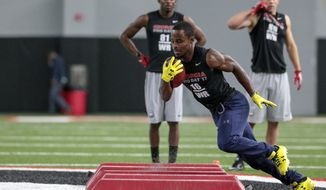 Georgia wide receiver Isaiah McKenzie runs a drill during pro day at the University of Georgia in Athens, Ga., Wednesday, March 15, 2017. (John Roark/Athens Banner-Herald via AP)