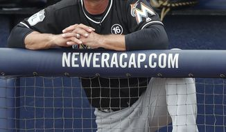 Miami Marlins manager Don Mattingly watches from the dugout during a spring training baseball game against the New York Mets, Monday, March 13, 2017, in Port St. Lucie, Fla. (AP Photo/John Bazemore)