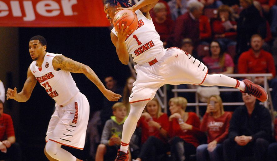 Illinois State guard Paris Lee (1) grabs a rebound against UC Irvine during an NCAA college basketball game in the first round of the NIT on Wednesday, March 15, 2017, in Normal, Ill. (David Proeber/The Pantagraph via AP)