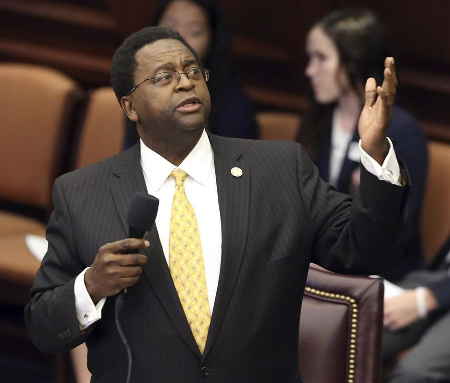 Sen. Perry Thurston, D-Fort Lauderdale, debates against the stand your ground bill during session, Wednesday, March 15, 2017, in Tallahassee, Fla. (AP Photo/Steve Cannon)
