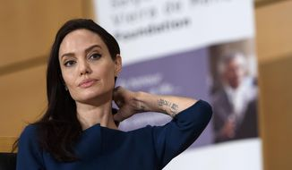 United Nations High Commissioner for Refugees (UNHCR) Goodwill Ambassador American actress Angelina Jolie, listens, during The annual lecture of the Sergio Vieira de Mello Foundation at the European headquarters of the United Nations in Geneva, Switzerland, Wednesday, March 15, 2017. (Martial Trezzini/Keystone via AP)