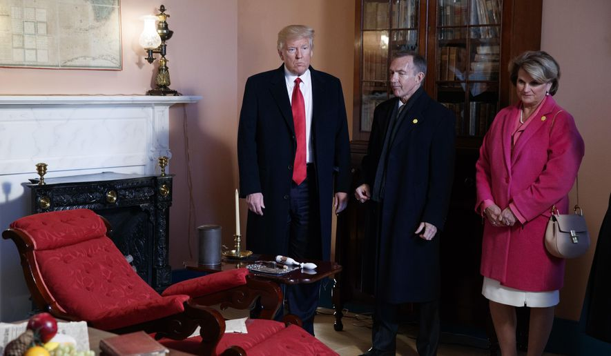 President Donald Trump tours the Hermitage, the home of President Andrew Jackson, to commemorate Jackson's 250th birthday, Wednesday, March 15, 2017, in Nashville, Tenn. (AP Photo/Evan Vucci)