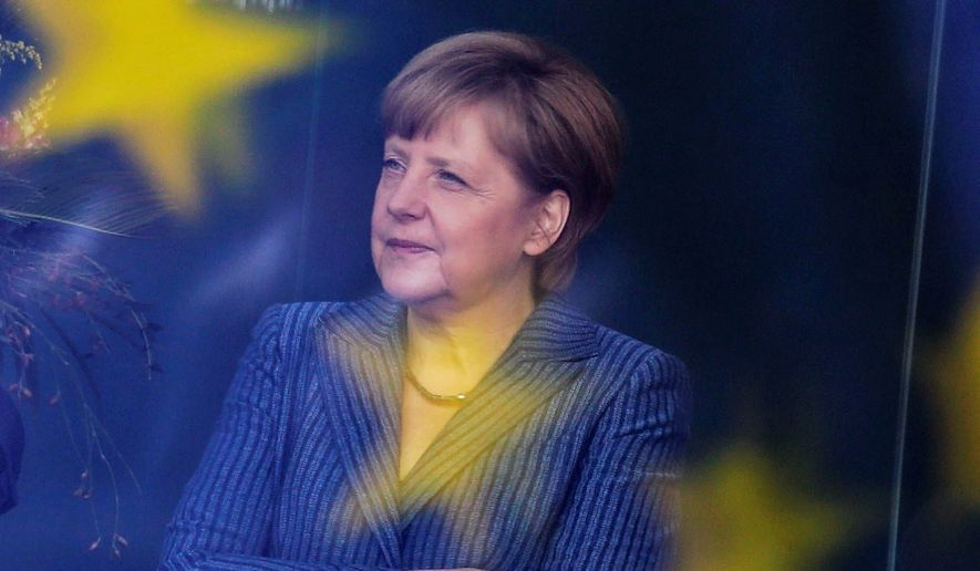 German Chancellor Angela Merkel is set for her first meeting with President Trump, which is being eyed cautiously by German businesses. (Associated Press)