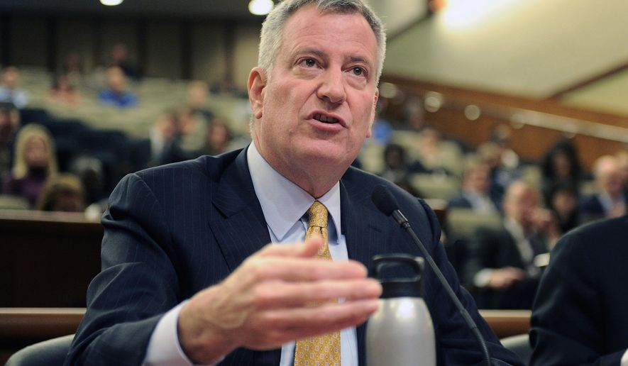 "FILE - In this Jan. 30, 2017 file photo, New York City Mayor Bill de Blasio testifies during a joint legislative budget hearing on local government in Albany, N.Y.  On Thursday, March 16, prosecutors say state and federal probes of de Blasio's fundraising will not result in criminal charges for the mayor or others acting on his behalf. Manhattan District Attorney Cyrus Vance said the facts were insufficient to successfully argue a provable violation of election laws. But he said the actions appear to be ""contrary to the intent and spirit of the law."" (AP Photo/Hans Pennink)"