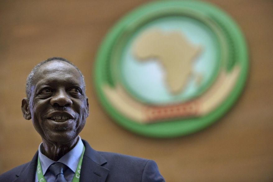 Issa Hayatou attends the general assembly of the Confederation of African Football (CAF) in Addis Ababa, Ethiopia Thursday, March 16, 2017. Issa Hayatou was voted out as president of the African soccer confederation on Thursday after 29 years in charge, losing to challenger Ahmad of Madagascar in a major shakeup for the sport on the continent. (AP Photo)