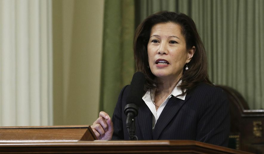 California Supreme Court Chief Justice Tani G. Cantil-Sakauye delivers her annual State of the Judiciary address before a joint session of the Legislature at the Capitol in Sacramento, Calif., in this March 23, 2015, file photo. The chief justice of the California Supreme Court has asked federal agents to stop making immigration arrests in courthouses to protect residents' access to justice. (AP Photo/Rich Pedroncelli, File)