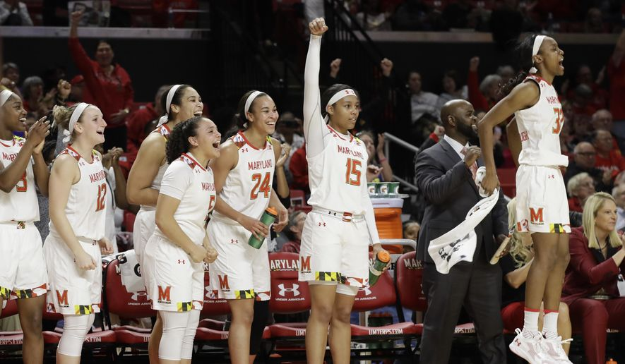 FILE - In this Feb. 26, 2017, file photo, Maryland players react on the bench after a Maryland score in the final moments of an NCAA college basketball game against Minnesota, in College Park, Md. The journey for Maryland (30-2) begins Friday against Bucknell (27-5). (AP Photo/Patrick Semansky, File)