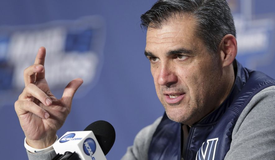 Villanova coach Jay Wright speaks during a news conference in Buffalo, N.Y., Wednesday, March 15, 2017. Villanova, a No. 1 seed, opens the NCAA men's basketball tournament in the first round against Mount St. Mary's on Thursday. (Michael P. King/Wisconsin State Journal via AP)