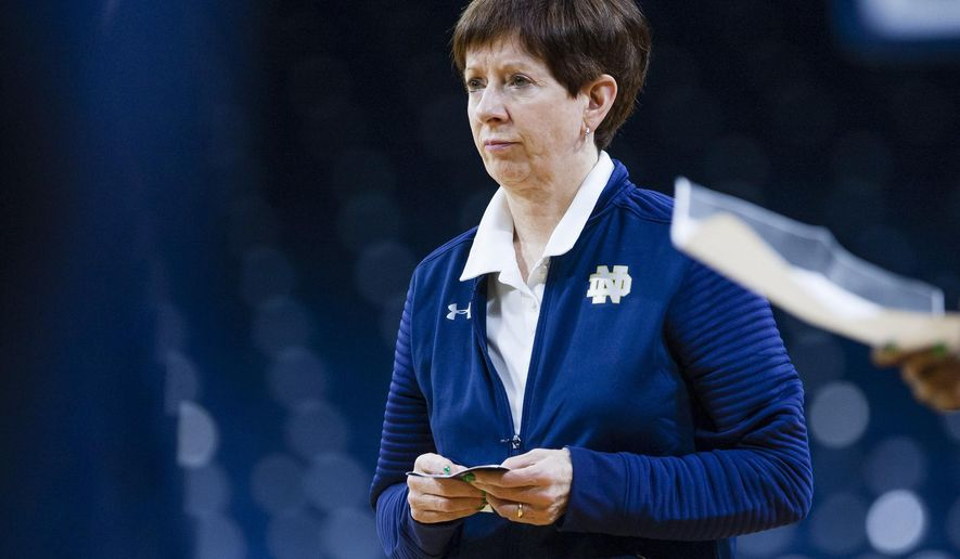 Notre Dame head coach Muffet McGraw watches during a practice at Purcell Pavilion in South Bend, Ind. Thursday, March 16, 2017 in advance of the first round of the NCAA Division 1 Women's Basketball Tournament hosted by Notre Dame. (Michael Caterina/South Bend Tribune via AP)