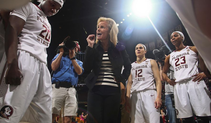 FILE - In this Feb. 6, 2017, file photo, Florida State coach Sue Semrau talks to her players, including forward Shakayla Thomas (20), guard Brittany Brown (12) and Ivey Slaughter (23) after an NCAA college basketball game against Miami in Tallahassee, Fla. Florida State (25-6) dropped four of its final six games and is the third seed in Stockton Regional. It will host the first two rounds for the second time in three years and face No. 14 Western Illinois (26-6) in a first-round game Friday. (AP Photo/Phil Sears, File)
