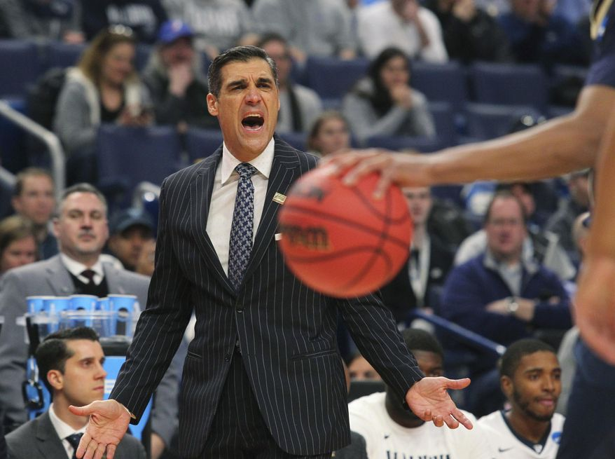 Villanova head coach Jay Wright reacts to a play during the first half of a first-round men's college basketball game against the Mount St. Mary's in the NCAA Tournament, Thursday, March 16, 2017, in Buffalo, N.Y. (AP Photo/Bill Wippert)