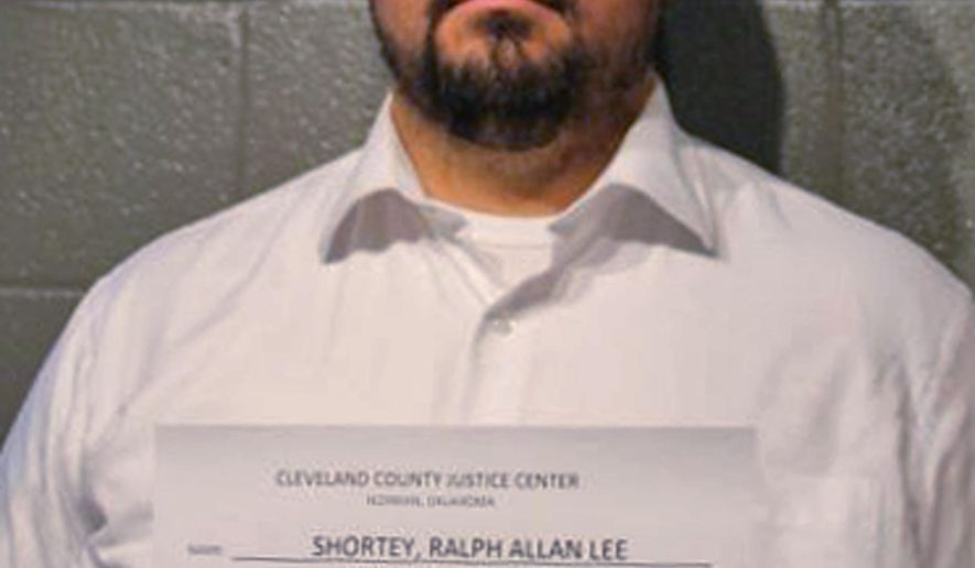 This undated photo provided by the Cleveland County Sheriff's Office in Norman Okla., shows Ralph Shortey. Oklahoma prosecutors have filed child prostitution charges against Shortey, a Republican state senator, after police found him in a hotel room with a 17-year-old boy. Shortey, surrendered to authorities Thursday, March 16, 2017 on charges of engaging in child prostitution, transporting a minor for prostitution and engaging in prostitution within 1,000 feet of church. (Cleveland County Sheriff's Office via AP)