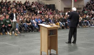U.S. Sen. Bernie Sanders responds to a question during a town meeting with students at the St. Johnsbury Academy on Thursday, March 16, 2017, in St. Johnsbury, Vt. Sanders is holding two days of town meetings with constituents across Vermont. (AP Photo/Wilson Ring)