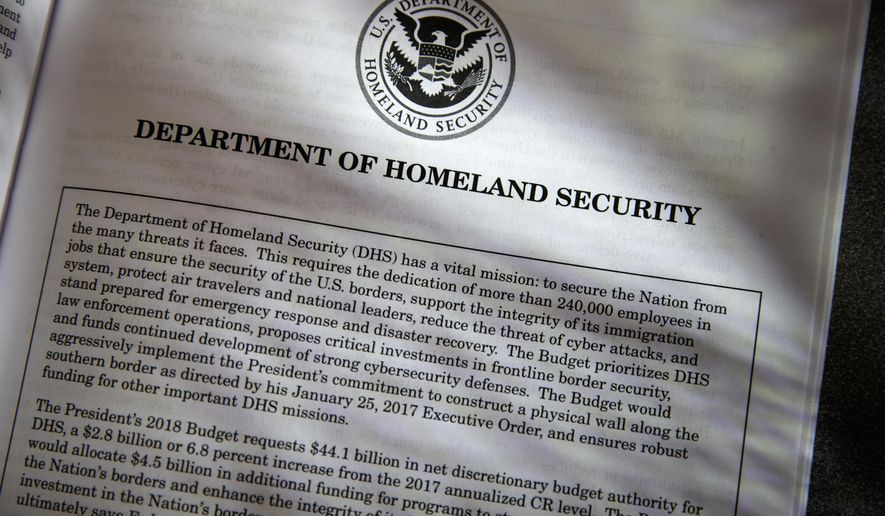 Proposals for the Homeland Security Department in President Donald Trump's first budget are displayed at the Government Printing Office in Washington, Thursday, March, 16, 2017. President Donald Trump's budget proposals on immigration enforcement read like a wish list for his most ardent supporters. The budget requests for the Homeland Security and Justice departments call for billions of dollars for some of Trump's most high-profile and contentious campaign promises, including a $2.6 billion down payment for a border wall he insisted Mexico would pay for.  (AP Photo/J. Scott Applewhite)