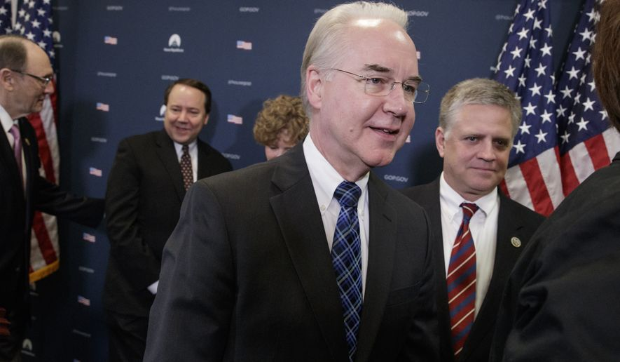 "Health and Human Services Secretary Tom Price joins the Republican Conference to push for unity on advancing the GOP's ""Obamacare"" replacement bill, on Capitol Hill in Washington, Friday, March, 17, 2017. From left at rear are Rep. Phil Roe, R-Tenn., Rep. Pat Tiberi, R-Ohio, Rep. Susan Brooks, R-Ind., and Rep. Drew Ferguson, R-Ga. (AP Photo/J. Scott Applewhite)"