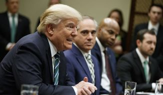 President Donald Trump speaks during a meeting about veterans affairs, Friday, March 17, 2017, in the Roosevelt Room of the White House in Washington. (AP Photo/Evan Vucci)