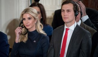 Ivanka Trump, the daughter of President Donald Trump, and President Donald Trump's White House Senior Advisor Jared Kushner attend a joint news conference with President Donald Trump and German Chancellor Angela Merkel in the East Room of the White House in Washington, Friday, March 17, 2017. (AP Photo/Andrew Harnik)