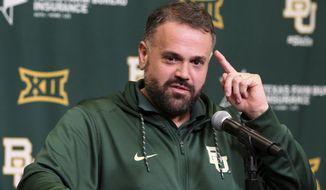 Baylor head football coach Matt Rhule answers questions from the media Thursday, March 16, 2017, in Waco, Texas, as discuss the upcoming season. (Jerry Larson/Waco Tribune-Herald via AP)