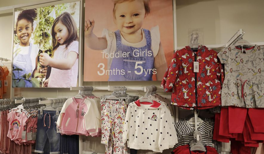 An image of Down syndrome toddler Lily Beddall, who is featuring as a model for British fashion and homeware retailer Matalan, is displayed in a Matalan store on Oxford Street in London, Friday, March 17, 2017. (AP Photo/Matt Dunham)