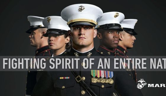 "This undated image provided by the U.S. Marine Corps shows a billboard that the Corps will post as part of a new recruitment advertisement campaign, meant to draw millennials by showing Marines as not only strong warriors but good citizens. ""Battles Won"" is the name of the campaign that includes TV ads and online clips of Marines unloading ""Toys for Tots"" boxes and real video of a Marine veteran tackling an armed robber. The military's smallest branch is also considering replacing its iconic slogan, ""The Few. The Proud. The Marines."" (U.S. Marine Corps via AP)"