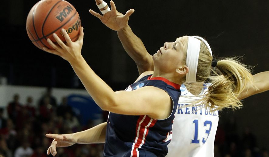 Belmont's Kylee Smith, left, shoots while defended by Kentucky's Evelyn Akhator, right, during a first-round game in the women's NCAA college basketball tournament in Lexington, Ky., Friday, March 17, 2017. (AP Photo/James Crisp)