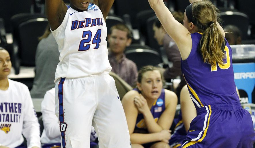DePaul guard Tanita Allen (24) makes a high pass over a Northern Iowa defender during the first half of a first-round game in the women's NCAA college basketball tournament in Starkville, Miss., Friday, March 17, 2017. (AP Photo/Rogelio V. Solis)