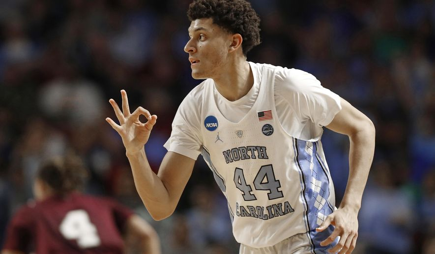 North Carolina's Justin Jackson (44) reacts after making a three-point basket against Texas Southern during the first half in a first-round game of the NCAA men's college basketball tournament in Greenville, S.C., Friday, March 17, 2017. (AP Photo/Chuck Burton)