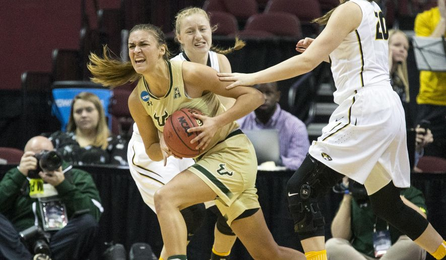 South Florida guard Ariadna Pujol comes out with an offensive rebound during the first half of a first-round game in the women's NCAA college basketball tournament in Tallahassee, Fla., Friday March 17, 2017. (AP Photo/Mark Wallheiser)