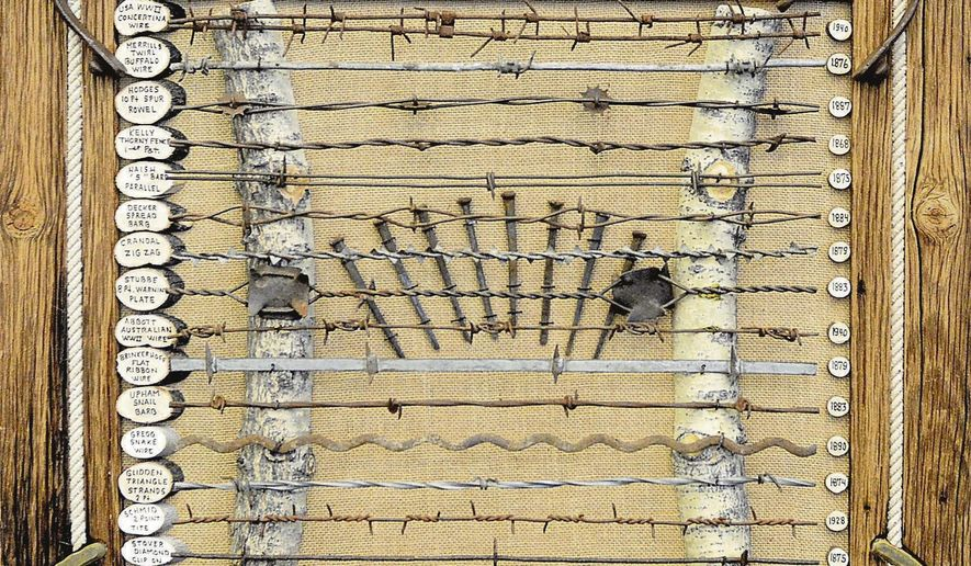 This photo taken March 8, 2017, shows a piece made by Mike Call to display the barbed wire he has collected over the years. Displays by Call and other collectors will be on display during the 2017 Western Collectibles Show March 24-25 at the Carson Valley Inn in Minden, N.V. (Amy Alonzo /The Record Courier via AP)
