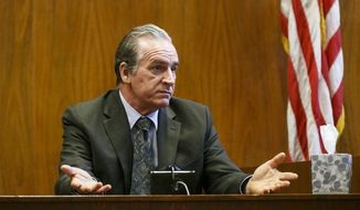 In this March 16, 2017, photo, John Rideout testifies at the Marion County Courthouse in Salem, Ore. Rideout, who was arrested in July of 2016 on two counts of first-degree rape, was found guilty Thursday of rape and sodomy, the Statesman Journal reported. He gained notoriety in 1978 when he became the first U.S. man to be tried for raping his wife while they were living together. (Molly J. Smith/Statesman Journal via AP)