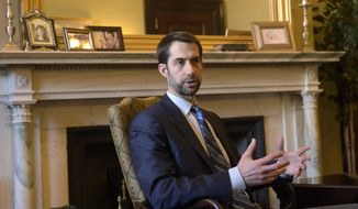 en. Tom Cotton, R-Ark., speaks during an interview with The Associated Press in his office on Capitol Hill in Washington, in this March 16, 2017, file photo. (AP Photo/Susan Walsh) ** FILE **