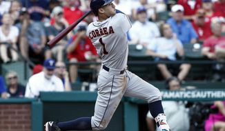 FILE - In this Sept. 3, 2016, file photo, Houston Astros' Carlos Correa bats against the Texas Rangers during a baseball game in Arlington, Texas. General managers are expecting power from their shortstops, and batters like Carlos Correa, Addison Russell and Corey Seager are providing an unprecedented supply. Shortstops hit more homers than ever in 2016, signaling a potential end to the days of the speedy, slap-hitting middle infielder.  (AP Photo/Mike Stone)