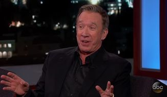"Comedic actor Tim Allen joked briefly on ""Jimmy Kimmel Live!"" Thursday night about having to keep quiet about his conservative views in Hollywood. (Jimmy Kimmel Live) ** FILE **"
