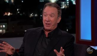 """Comedic actor Tim Allen joked briefly on """"Jimmy Kimmel Live!"""" Thursday night about having to keep quiet about his conservative views in Hollywood. (Jimmy Kimmel Live) ** FILE **"""