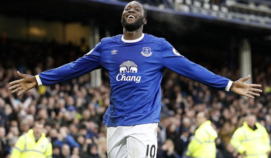 Everton's Romelu Lukaku celebrates scoring against Hull City during the English Premier League soccer match at Goodison Park, Liverpool, England, Saturday March 18, 2017. (Martin Rickett/PA via AP)