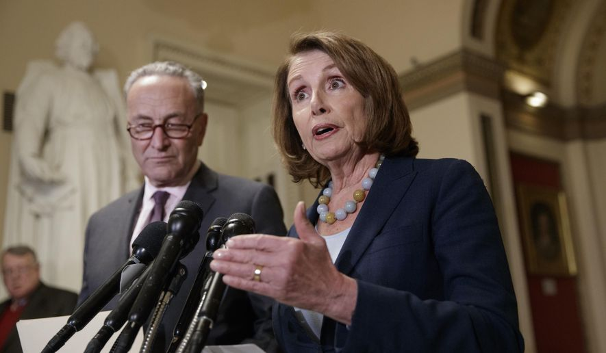 House Democratic Leader Nancy Pelosi of California, and Senate Democratic Leader Chuck Schumer of New York speak to reporters on Capitol Hill in Washington, Monday, March, 13, 2017. (AP Photo/J. Scott Applewhite)