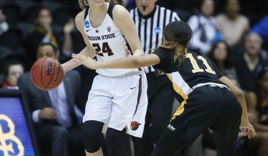 Oregon State's Sydney Wiese (24) brings the ball upcourt while guarded by Long Beach State's Martina McCowan (11) during the second half of a first-round game in the women's NCAA college basketball tournament Friday, March 17, 2017, in Corvallis, Ore. (AP Photo/ Timothy J. Gonzalez)