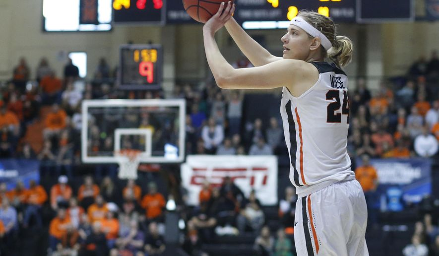 Oregon State's Sydney Wiese shoots during the second half of a first-round game against Long Beach State in the women's NCAA college basketball tournament Friday, March 17, 2017, in Corvallis, Ore. (AP Photo/ Timothy J. Gonzalez)