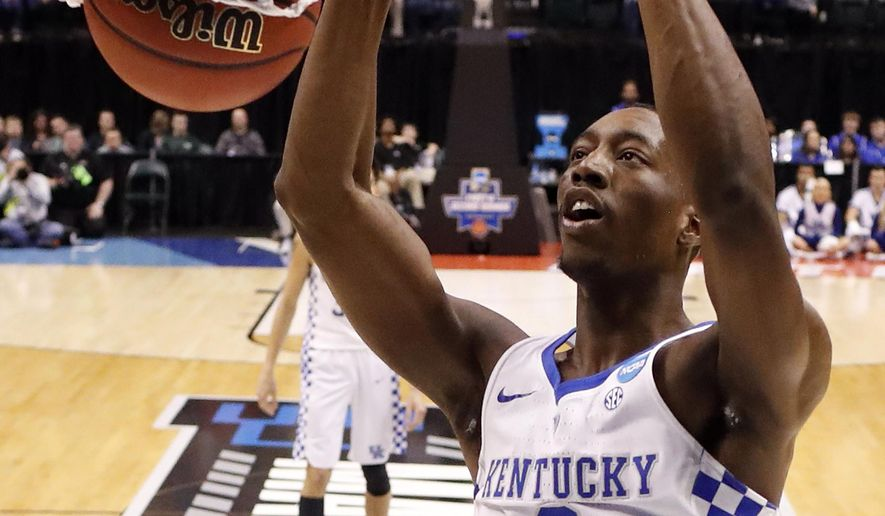 Kentucky's Bam Adebayo (3) dunks the ball during the first half of a first-round game against Northern Kentucky in the men's NCAA college basketball tournament Friday, March 17, 2017, in Indianapolis. (AP Photo/Jeff Roberson)