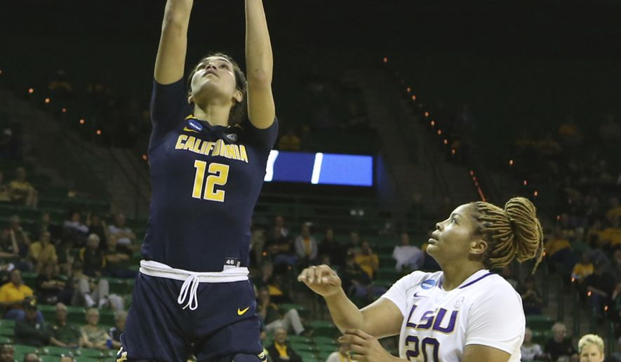 California forward Penina Davidson (12) scores past LSU forward Alexis Hyder (20) in the first half of a first-round game in the women's NCAA college basketball tournament, Saturday, March, 18, 2017, in Waco, Texas. (AP Photo/Jerry Larson)/ AP)