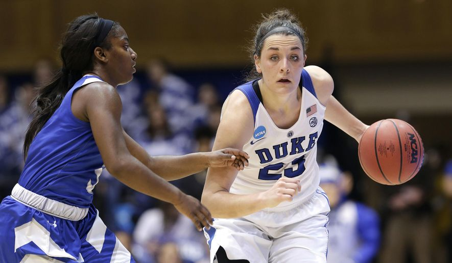 Duke's Rebecca Greenwell (23) dribbles while Hampton's Georgianna Gilbeaux defends during the first half of a first-round game in the NCAA women's college basketball tournament in Durham, N.C., Saturday, March 18, 2017. (AP Photo/Gerry Broome)