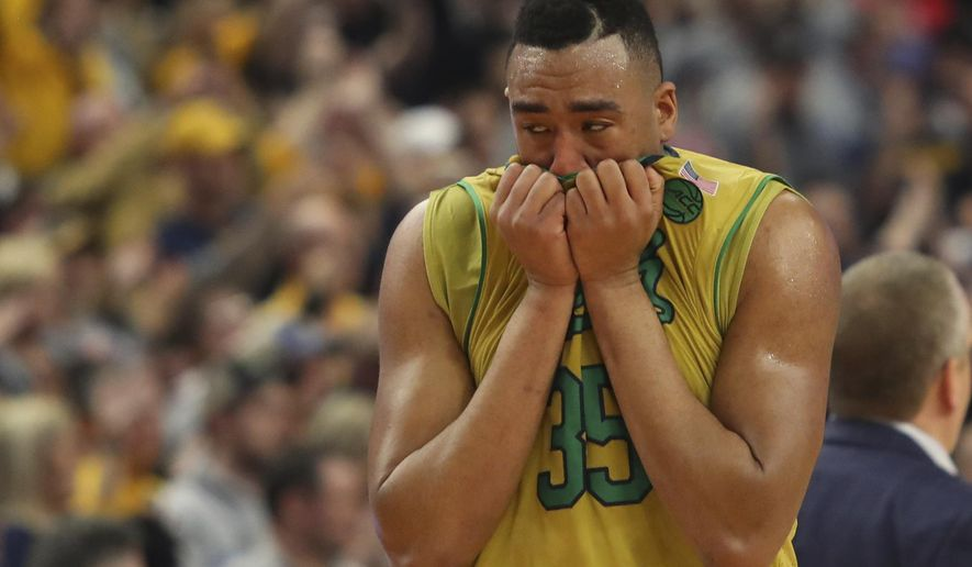 Notre Dame forward Bonzie Colson (35) reacts after their 83-71 loss to West Virginia in a second-round men's college basketball game in the NCAA Tournament, Saturday, March 18, 2017, in Buffalo, N.Y. (AP Photo/Bill Wippert)