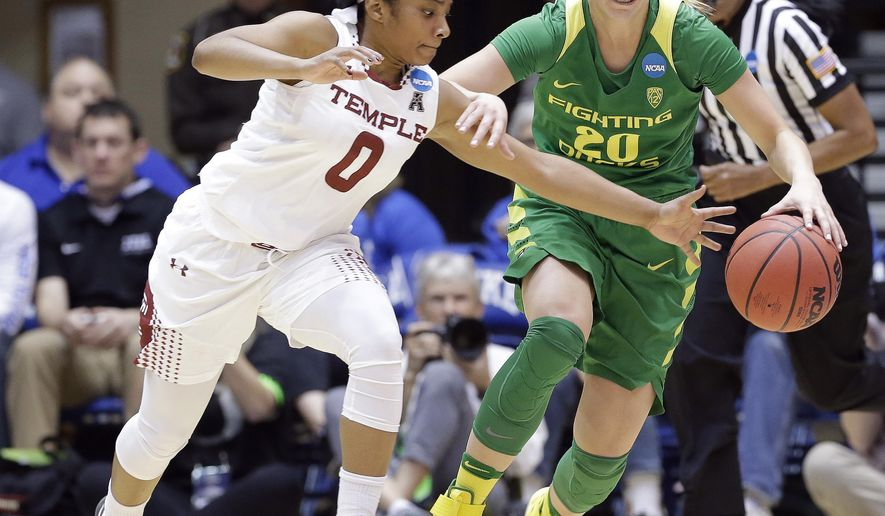 Temple's Alliya Butts (0) and Oregon's Sabrina Ionescu (20) chase the ball during the first half of a first-round game in the NCAA women's college basketball tournament in Durham, N.C., Saturday, March 18, 2017. (AP Photo/Gerry Broome)