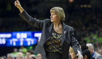 Purdue head coach Sharon Versyp signals to her team during a first-round game against Green Bay in the women's NCAA college basketball tournament, Friday, March 17, 2017, in South Bend, Ind. (AP Photo/Robert Franklin)